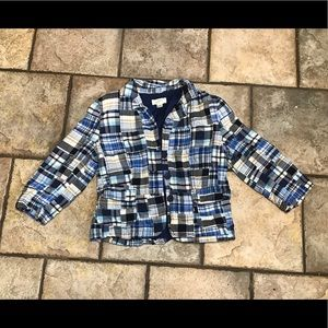 Loft Blue plaid 3/4 sleeve blazer jacket size  6